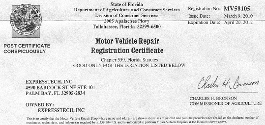 florida car registration